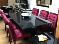 granite effect dining table plus 6 crushed velvet chairs