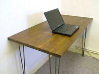 Bespoke handmade wooden table / desk. 120cm x 60cm. Solid wood, hairpin legs. Industrial retro urban