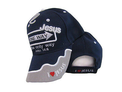 Jesus One Way The Only Way John 14:6 Blue Grey Embroidered Cap Hat CAP816 (TOPW)