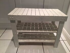 Shabby chic white wooden bench shoe rack