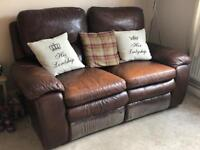 2seater full leather electric recliner sofa