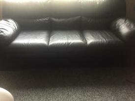 Lovely real leather 3 piece suite and storage footstool