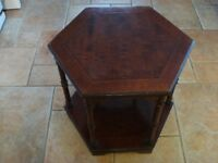 "Small 'Side' Table, 6 sided, 18"" diameter x 18"" high with bottom shelf"