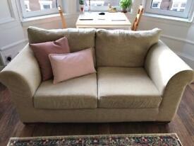 2 beige next sofas