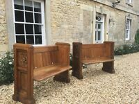 Pair of Antique Solid Oak Church Pews