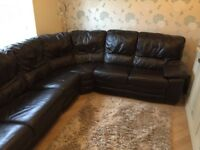 Large leather corner sofa with pull out sofa bed