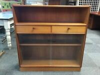 PARKER KNOLL NATHAN RETRO TEAK DISPLAY CABINET / BOOKCASE