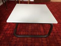 Low White Square Table With Metal Frame