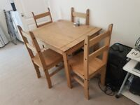 Wooden table and chairs for sale