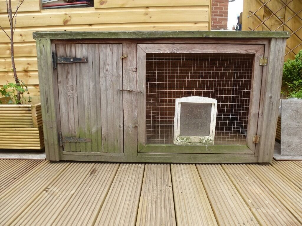 Rabbit hutch cat coop garden storage wooden hut for Storage huts for garden