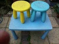 Children's table and 2 stools