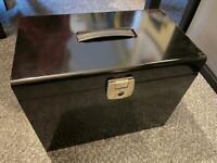 Black metal filing box