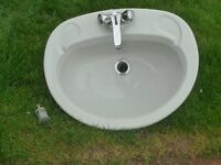 70's grey ceramic sink with taps