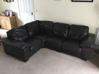 DFS Brown leather corner sofa and reclining electric chair.