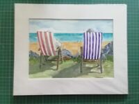Deck Chairs, Carlyon Bay. Mounted original watercolour painting