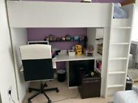 IKEA high top bed with desk includes mattress and chair