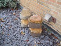 wooden carved mushrooms