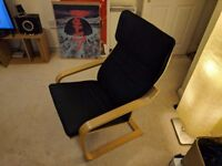 ikea chair poang wooden frame and black cushian