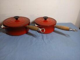 Pair Vintage France Cousances Cast Iron Red Enamel Saucepan No 18 No 20 With Lid