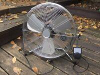 Adjustable floor fan, Polished chrome