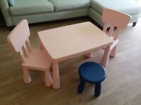 (Reduced) Highly-Sought-After-Light-Pink MAMMUT Children table 2 chairs + a dark blue stool £25 SE11