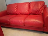 REDUCED !!!!Red Real Leather settee and chair