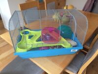 Hamster cage + accessories and food