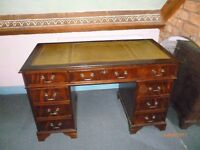 Twin Pedestal Leather Topped Desk and Matching Filing Cabinet + Other Vintage Items