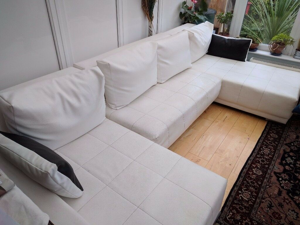 White leather bed-settee sofa | in Southport, Merseyside ...