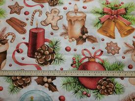 2 metres x 62 ins Large Christmas Print Cotton Fabric