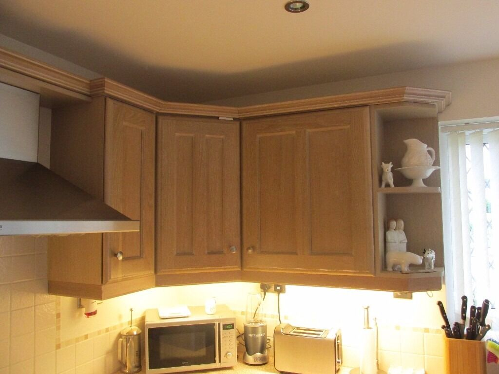 Solid limed oak fitted kitchen also including oven hob for Oak fitted kitchen