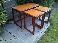Mid Century Danish Design Quadrille Teak Nest of Tables