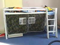 Boys army loft style bed with roll out desk excellent condition only one year old