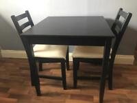 Ikea Black Dining/ Kitchen Table and Two Chairs