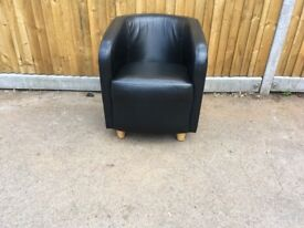 Black Leather Effect Tub Chair with Wooden Feet