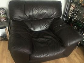 3 seater real leather brown dfs sofa and chair