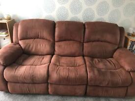 Brown Faux Leather 3 Seater Double Recliner Sofa **RESERVED**