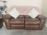 Leather recliner settee, chair and foot stool