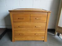 MAMAS AND PAPAS OCEAN SOLID OAK CHANGING TABLE FOUR DRAWER CHEST OF DRAWERS AUTUMN OAK FREE DELIVERY