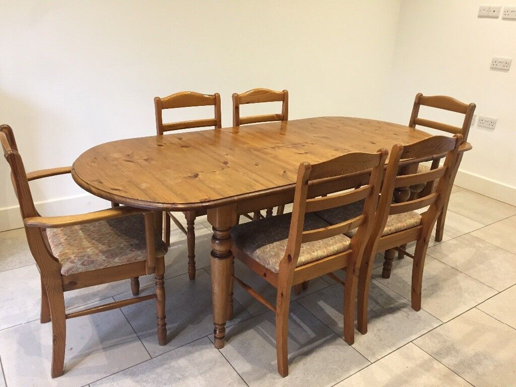 Ducal pine oval extending dining table and six chairs