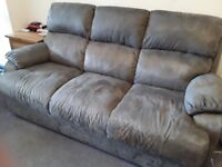 3 seater settee, 2 seater settee, Recliner Chair and footstool. Buckskin slate colour. VGC
