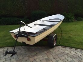 16 Feet Fishing Boat with trailer, engine & oars