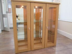 LIGHT OAK DISPLAY CABINET