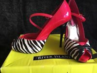 River Island stunning hot pink and zebra pink heels - size 6 ex con