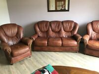 Brown Leather Sofa, 3 Seater and 2 Arm Chairs