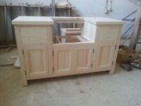 Solid Pine Belfast Sink Kitchen Unit for 600mm width sink