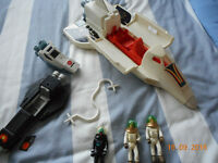 Alpha Probe (Fisher Price) 1980's and black spacecraft and figures