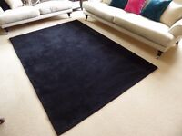 Large black rug - 100% wool, wave design from M&S - excellent condition