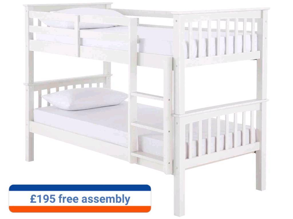 novaro bunk beds (white and pine colours)free assembly service and delivery