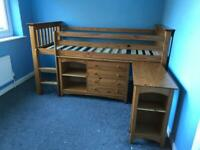 Julian Bowen mid sleeper, desk and drawer/shelf unit - reasonable offers considered